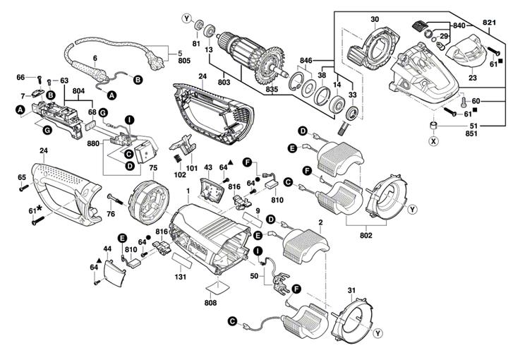 Esmerilhadeira  GWS 24-230 (Carcaça/ Rotor)
