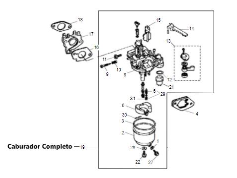 Carburador Motor Gasolina B4T 7.0