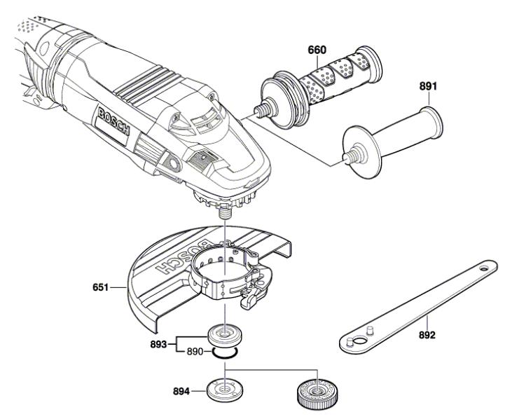 Esmerilhadeira GWS 24-230 (Punho / Chave / Capa)