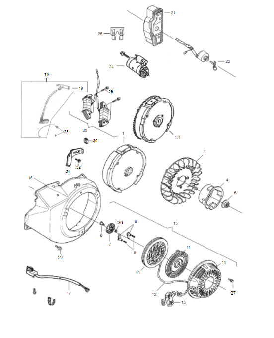 Carenagem / Retrátil Motor Gasolina B4T 7.0