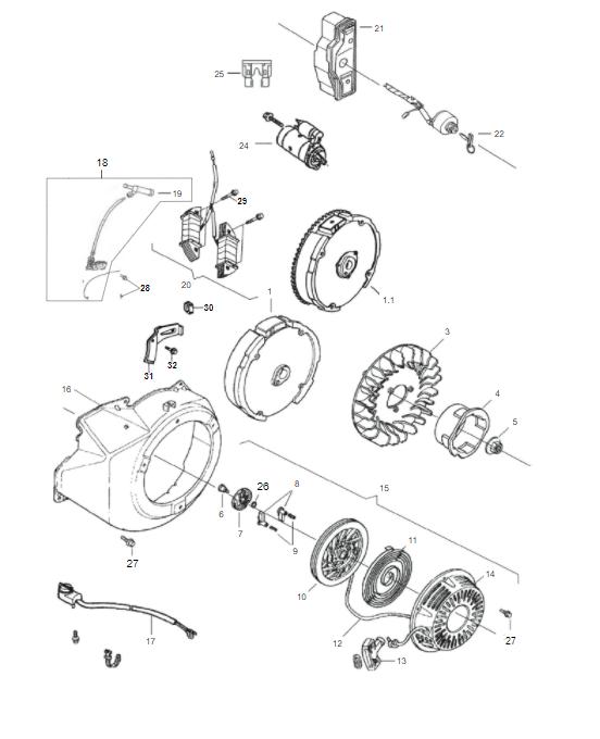 Carenagem / Retrátil Motor Gasolina B4T 5,5/6,5