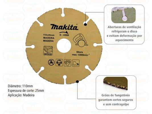 Disco serra p Madeira 110mm x 20mm Makita uso Serra Mármore
