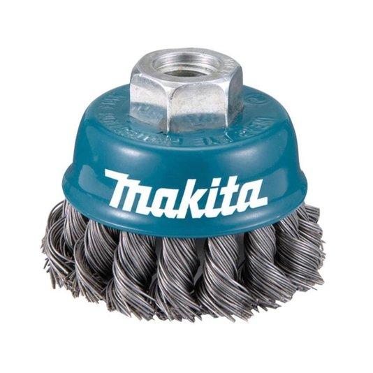 Escova de aço copo 75mm m14 fio trançado Original Makita