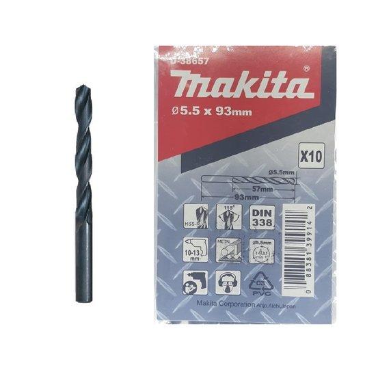 Broca Aço/Metal Makita 5.5mm HSS-R c/ 10 unidades
