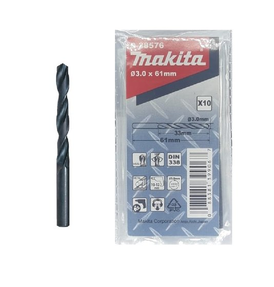Broca Aço/Metal Makita 3.00mm HSS-R c/ 10 unidades